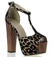 Туфли с леопардовым принтом на толстом каблуке