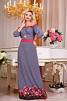 Романтичное платье в пол с открытыми плечами и легкими струящимися сборками на талии