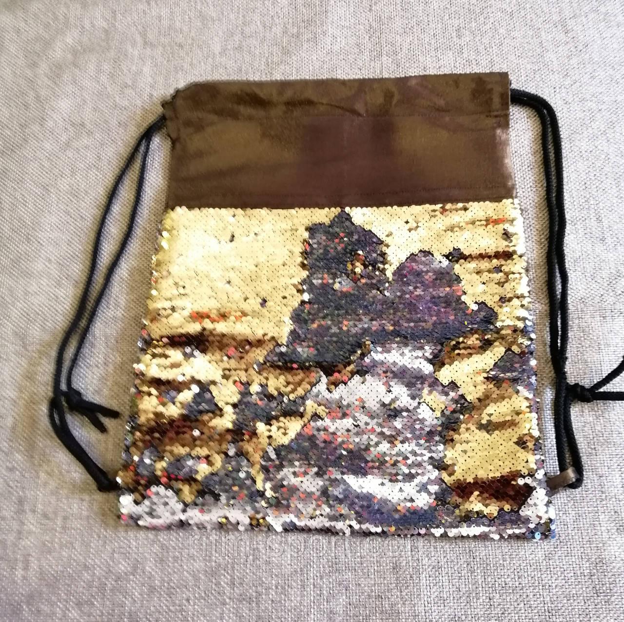 Рюкзак-мішок з двосторонніми паєтками золото-срібло