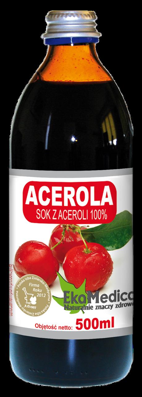 Сок Ацеролы (Барбадосской вишни) 100% без консервантов Ekamedica, 500мл