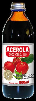 Сок Ацеролы (Барбадосской вишни) 100% без консервантов Ekamedica, 500мл, фото 2
