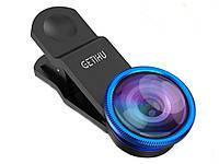 Набір з 3 лінз GETIHU для смартфонів Fisheye Lens Wide Lens і Marco Lens Набор объективов Синій