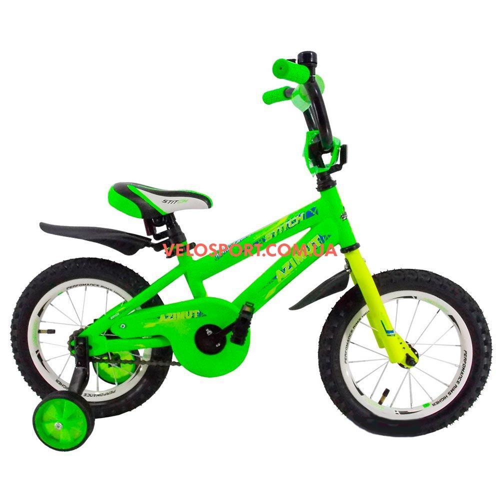 Детский велосипед Azimut Stitch 14 дюймов зеленый