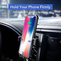 Универсальный автомобильный держатель для телефона c беспроводным зарядным устройством QI Ugreen 10W (Черный), фото 3