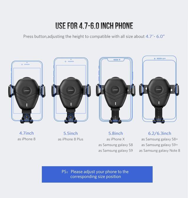 Универсальный автомобильный держатель для телефона c беспроводным зарядным устройством QI Ugreen ED014 10W Черный