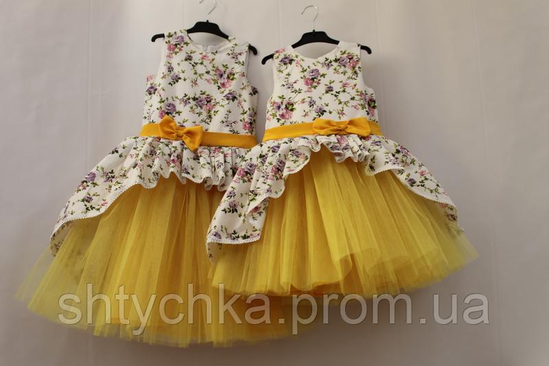 Нарядное платье на девочку с желтым фатином
