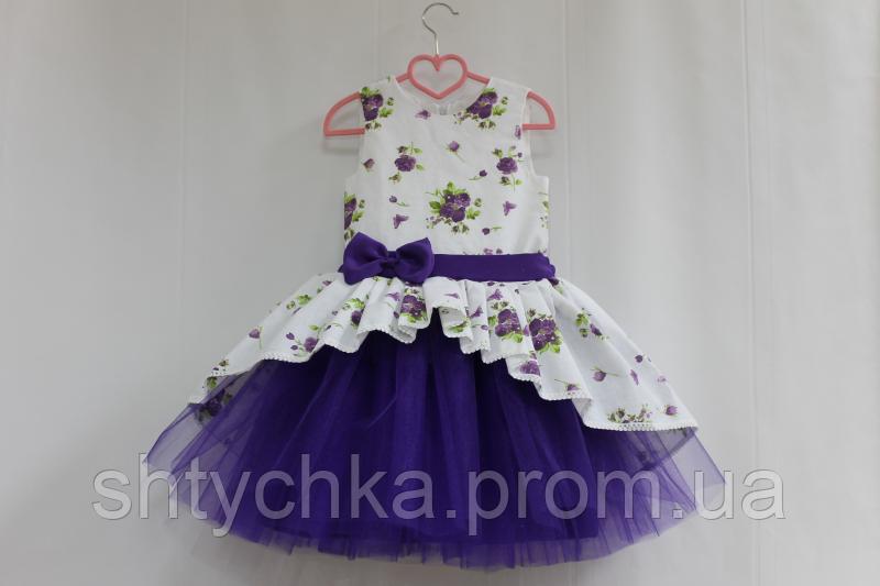 """Нарядное платье на девочку """"Фиолетовая фиалка"""" с фиолетовым фатином"""