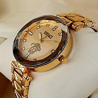 Элегантные женские кварцевые наручные часы Versace, золотого цвета, со стразами на металлическом браслете