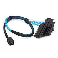 Кабель SFF-8643 Mini-SAS HD to 4 SFF-8482 connectors with SATA Power 1M
