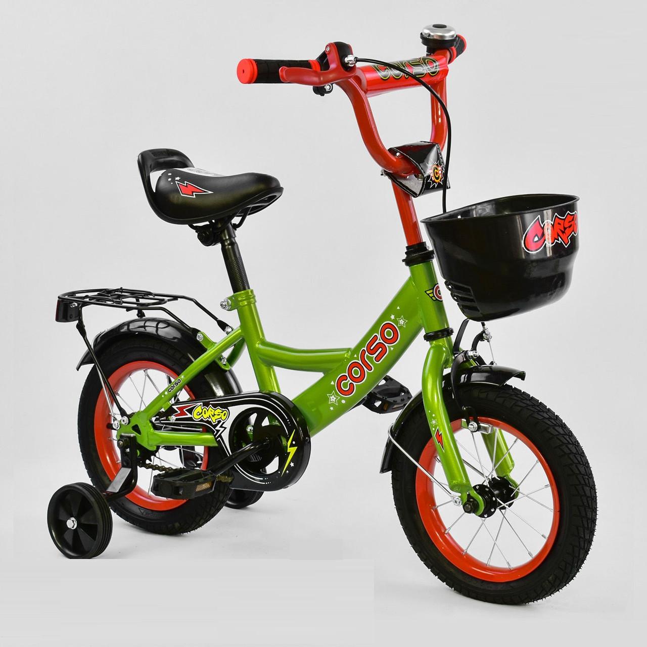 """Велосипед 12"""" дюймов 2-х колёсный G-12517 """"CORSO, ручной тормоз, звоночек, сидение с ручкой, дополнительные ко"""