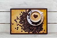 Поднос с подушкой BST 46*32 коричневый сердце на пене