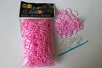 600 штук розово-белая (зебра) резиночек для плетения Loom Bands