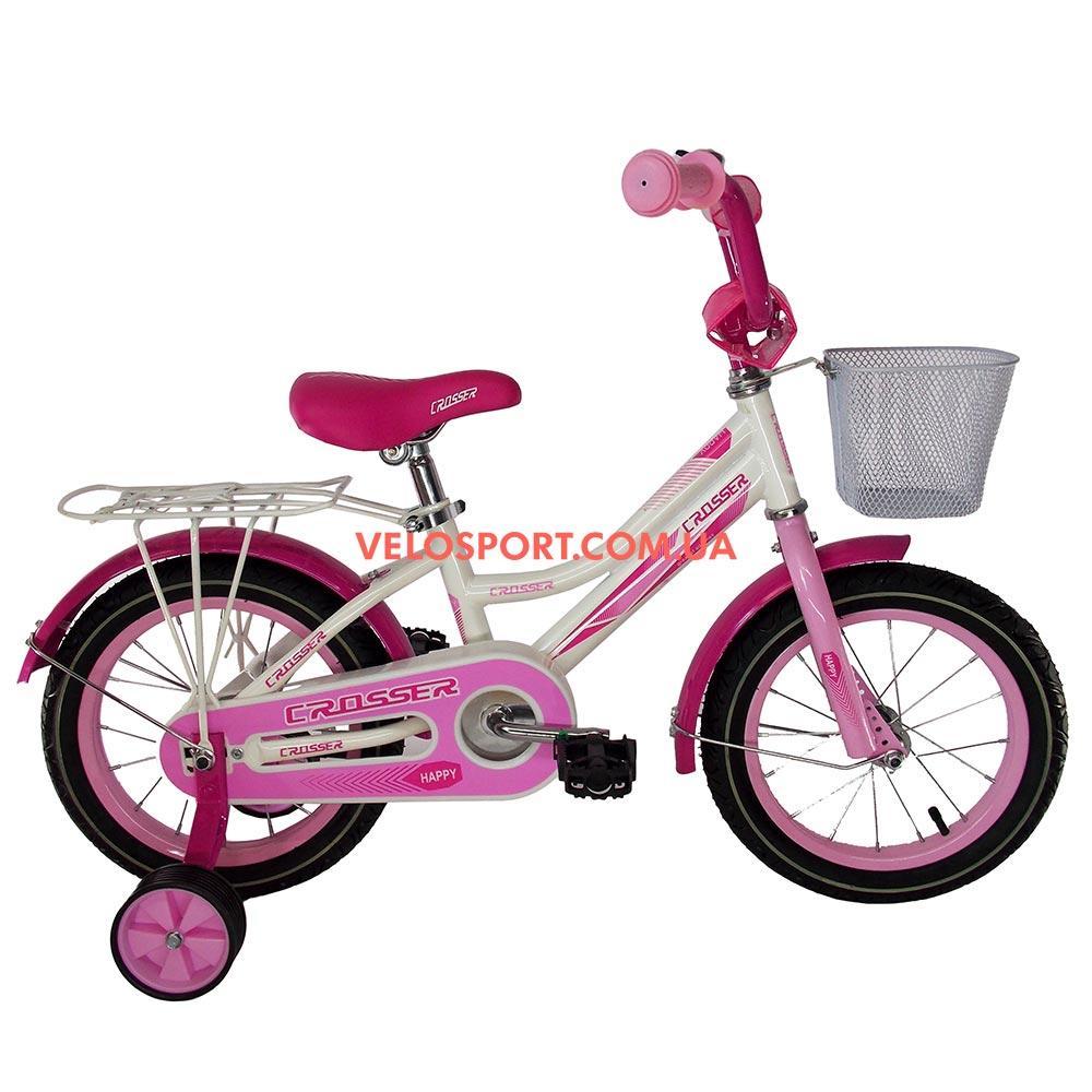 Детский велосипед Crosser Happy 14 дюймов бело-розовый