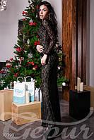 Вечернее платье в пол с вырезом на спине кружевным кантом застежка потайная молния сзади гипюр , фото 1