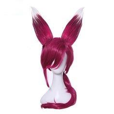 Парик с ушками, тёмно-розовые волосы, косплей, анимэ
