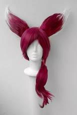Парик с ушками, тёмно-розовые волосы, косплей, анимэ, фото 3