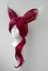 Парик с ушками, тёмно-розовые волосы, косплей, анимэ, фото 2