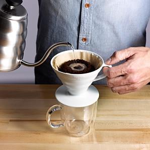 Пуровер Hario V60 01 White Ceramic (300 мл) для заваривания фильтр-кофе