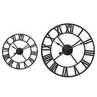 40/60 см Большой металлический каркас римская цифра стена Часы черная круглая форма - 1TopShop