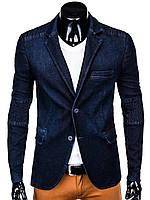 Мужской Пиджак мужской P116 - Темно- jeans Джинсовый, 52