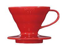 Кофеварка воронка пуровер Hario V60 01 керамическая | красная