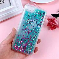 Чехол Glitter для Iphone 7 / 8 Бампер Жидкий блеск Бирюзовый