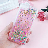 Чехол Glitter для Iphone 7 / 8 Бампер Жидкий блеск звезды Розовый