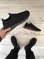 Мужские черные летние кроссовки, кросовки. Тонкие с сеткой, фото 1