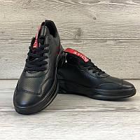 Мужские черные кожанные кроссовки, кросовки. PU кожа. Расспродажа!, фото 1