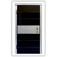 Дверь входная металлическая Italy Черный глянец/внутренней - белый глянец 121 Квартирная, фото 1