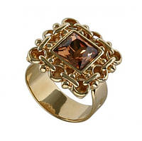 """Кольцо """"Меган"""" с кристаллами Swarovski, покрытое золотом (h049p020) Безразмер"""