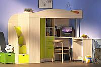 """Кровать чердак со шкафом и столом """"Комби"""" лайм +дуб молочный"""