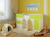 """Детская кровать чердак """"Карлсон"""" Молочный дуб + лайм"""