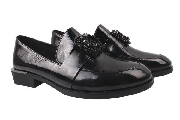 Туфли женские на низком ходу из натуральной лаковой кожи, черные Brocoly