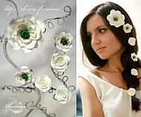 """""""Эустомы и розы"""" комплект заколок для волос с цветами из полимерной глины, фото 1"""