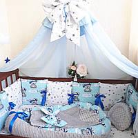 Комплект: Бортики в детскую кроватку для новорожденных + кокон из хлопка и нежного плюша