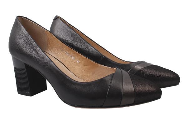 Туфли женские на каблуке Molka натуральная кожа, цвет черный