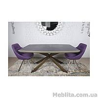 Стол  Nicolas Portland  HT2395 (160/210*95) мокко/баклажан/олово стеклокерамика