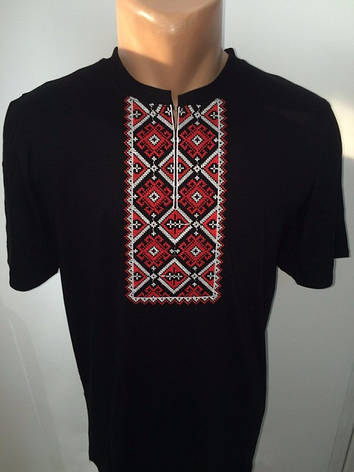 Мужская футболка вышиванка черная, фото 2