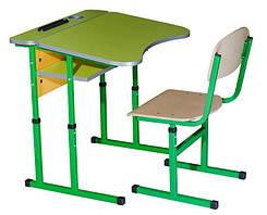 Комплект стол парта +стул ученический 1-местный антисколиозный без полки регулируемый по высоте №4-6