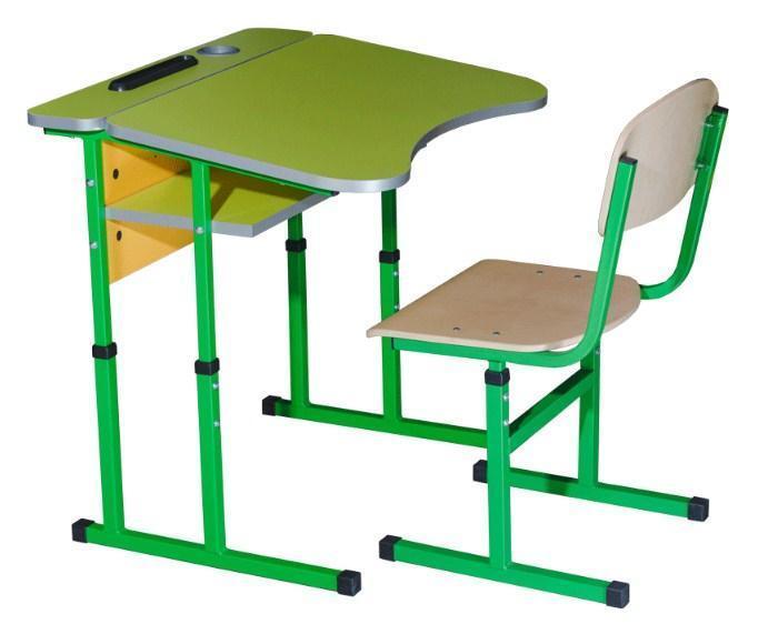 Комплект стол ученический 1-местный без полки антисколиозный, №4-6 + стул Т-образный, №4-6