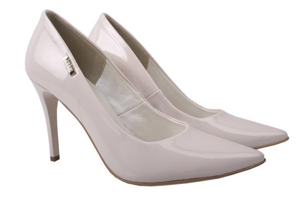 Туфли женские на шпильке из экокожи лаковые, молочные, Zan Zara Польша.
