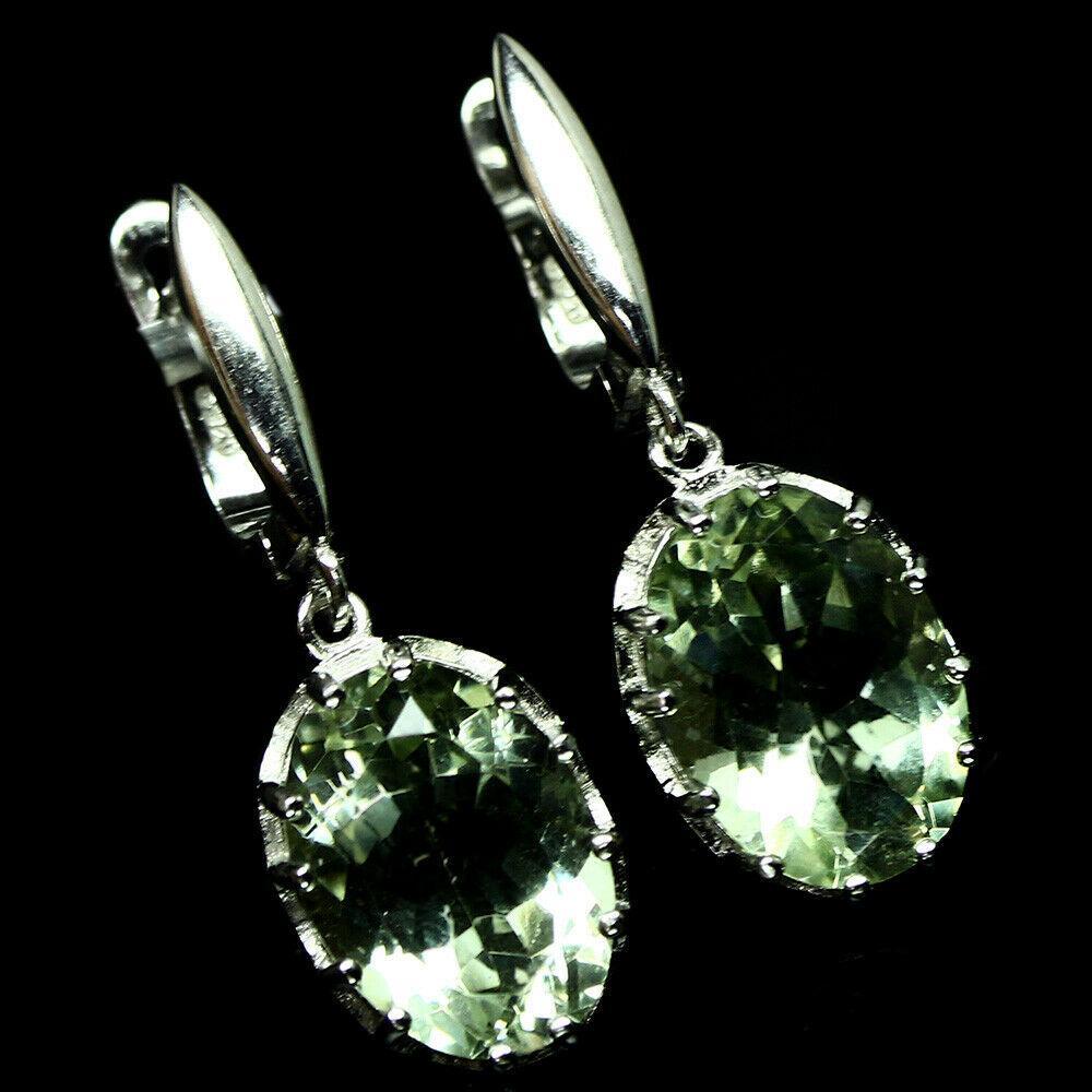 Серебряные серьги с зелеными аметистами 0111