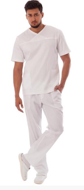 Мужской медицинский костюм Орест белого цвета