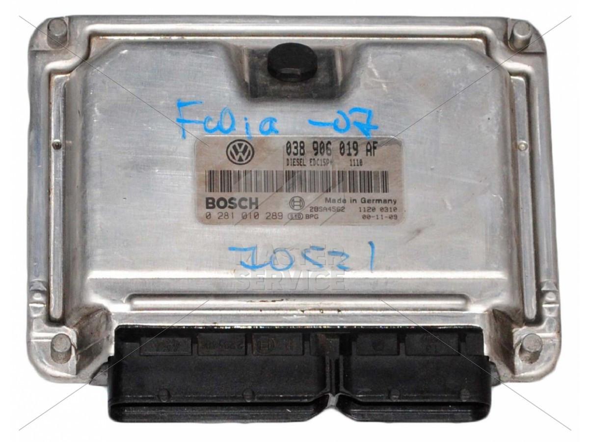 Блок управления двигателем 1.9 для SKODA FABIA 1999-2007 0281010289, 038906019AF