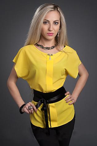 Женская шифоновая блузка с поясом, фото 2