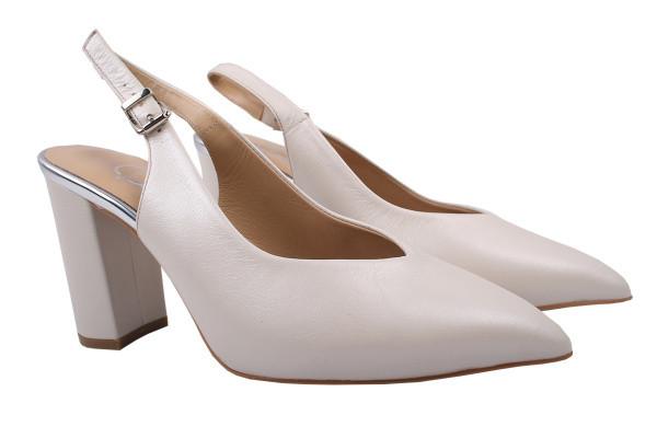 Туфли женские летние на каблуке Aquamarin Турция натуральная кожа, цвет молочный
