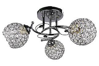 Люстра потолочная на 3 лампочки 220/3-ch Хром 23х43х43 см.
