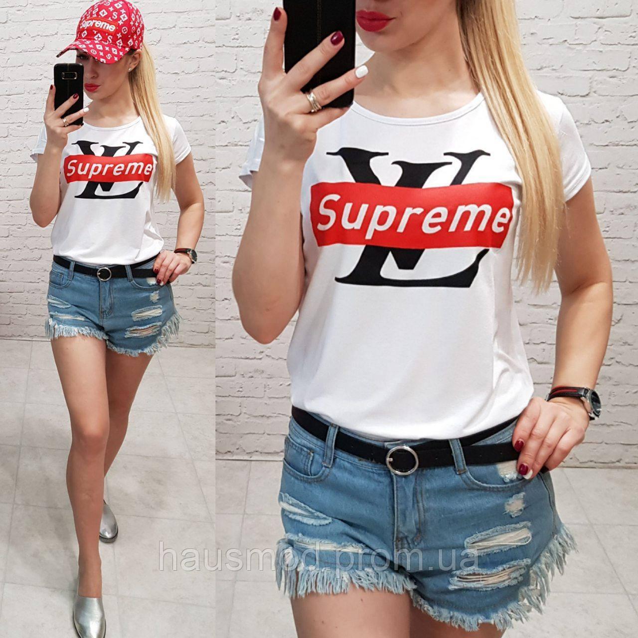 Женская футболка летняя реплика Supreme качество турция цвет белый