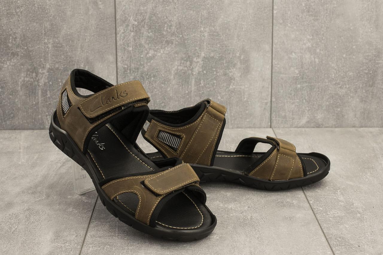 Мужские сандали кожаные летние оливковые Yuves 310